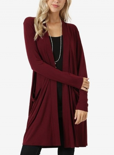 Burgundy Casual Long Sleeve Open Front Cardigan With Pockets STYLESIMO.com