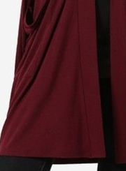 Burgundy Casual Long Sleeve Open Front Cardigan With Pockets