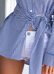 Blue Striped Long Sleeve Button Down Shirt With Belt