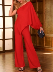 33b9ea066e15 Red One Shoulder Split Sleeve Wide Leg Jumpsuit With Zip - STYLESIMO.com