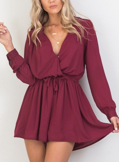 Burgundy V Neck Long Sleeve Elastic Waist Wide Leg Romper