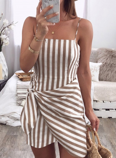 Slim Striped Spaghetti Strap Backless Knot Irregular Mini Dress