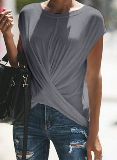Grey Short Sleeve Round Neck Wrap Loose Pullover Tee