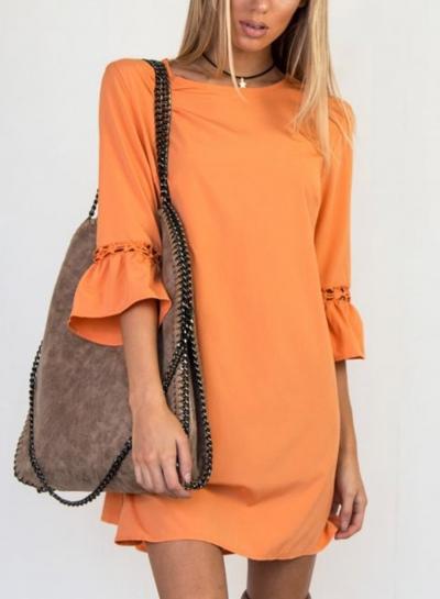 Orange Loose Mini Dress