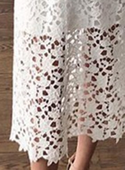 White Spaghetti Strap V Neck Lace Hollow Out Dress With Zip