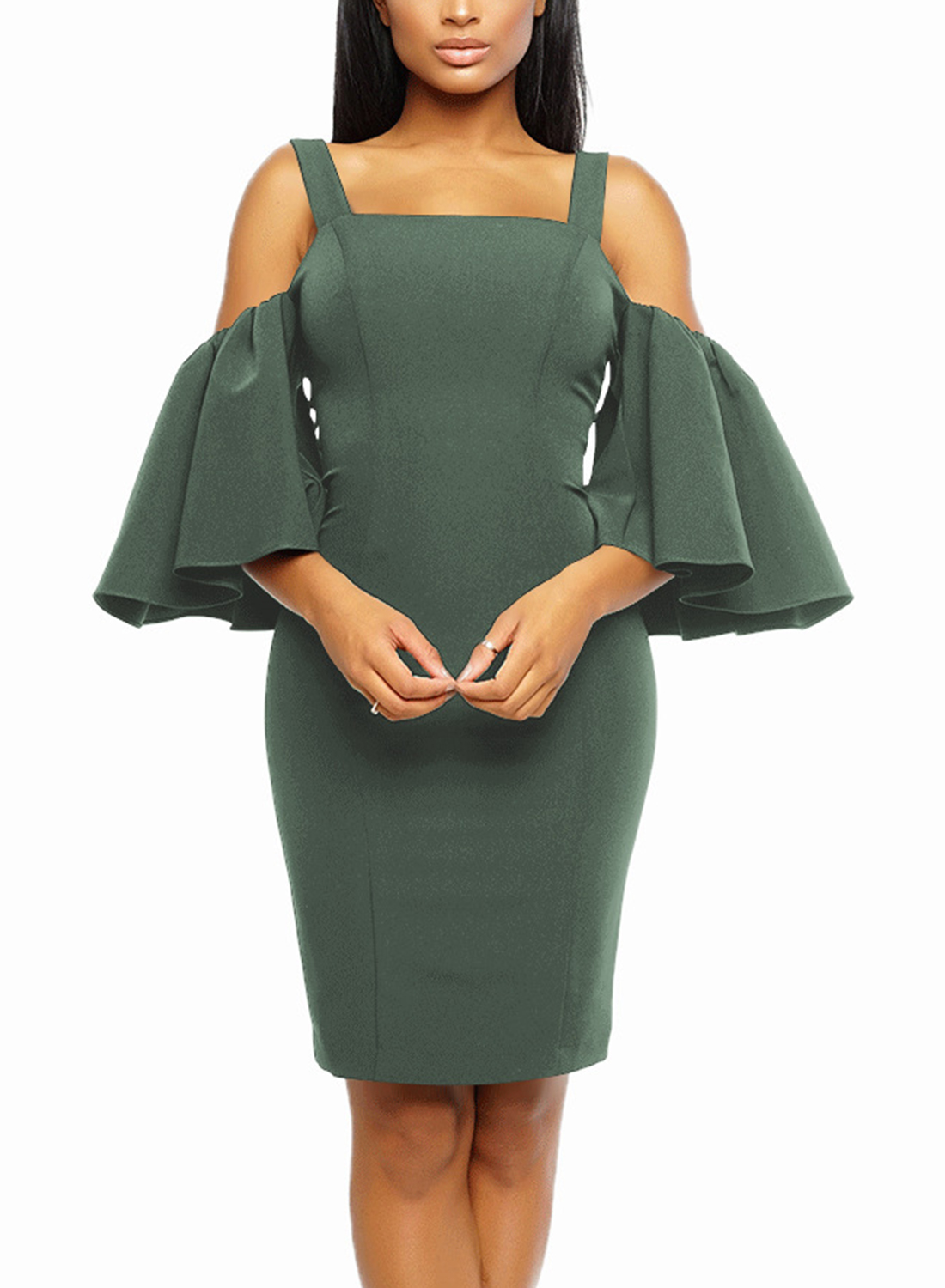 e3aa3775f352 ... Off Shoulder Flounce Sleeve Bodycon Dress With Zip STYLESIMO.com. Loading  zoom