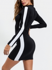 Black Side Stylish Striped Active Slim Bodycon Dress