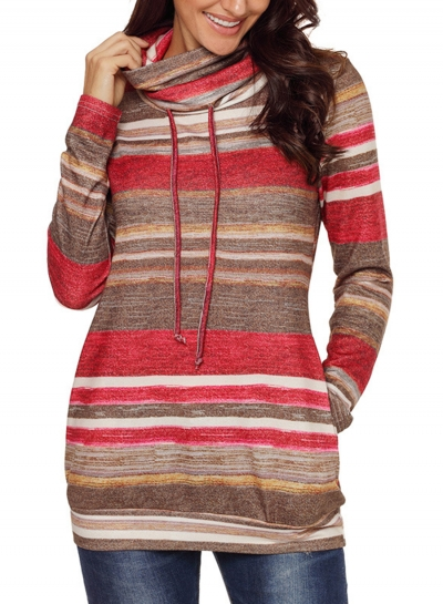 Red Women's Striped Long Sleeve High Neck Loose Pockets Knitwear STYLESIMO.com