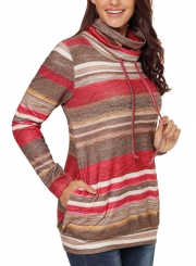 Red Women's Striped Long Sleeve High Neck Loose Pockets Knitwear