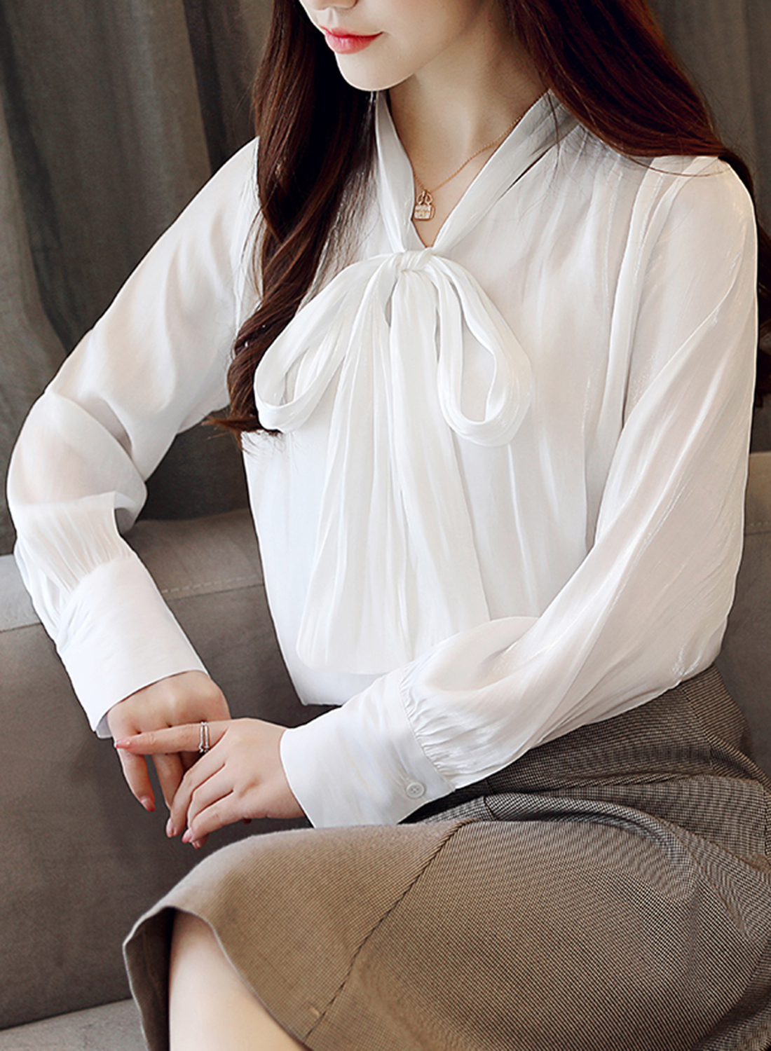 a2653d6a776d34 White V Neck Long Sleeve Bow Tie Loose Chiffon Blouse STYLESIMO.com.  Loading zoom