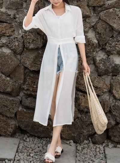 White Long Sleeve High Waist Button Down Shirt