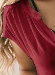Burgundy Short Sleeve Loose Button Down Blouse