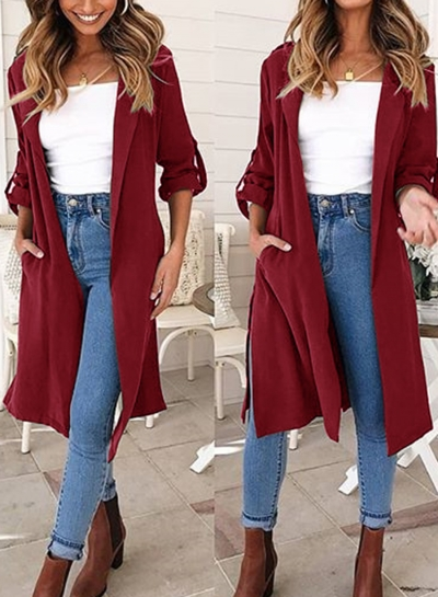 Burgundy Slit Coat Windbreaker For Women