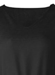 Black Casual V Neck Long Sleeve Bow Tie Slit Loose Dress