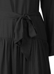 Black Casual V Neck Long Sleeve Bow Tie Slit Loose Dress