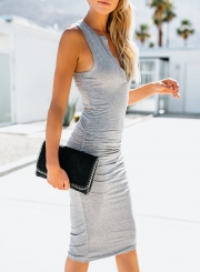 Grey Sleeveless V Neck Solid Color Bodycon Maxi Dress