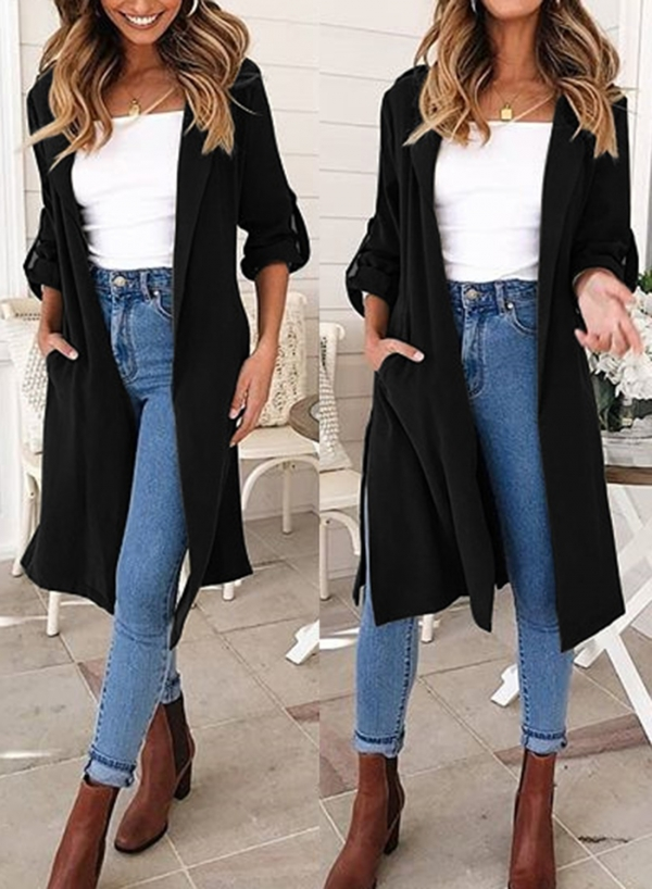 Black Autumn Thin Slit Coat Windbreaker
