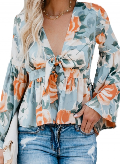 Blue Casual Floral Print V Neck Flare Sleeve Bow Tie Loose Blouse