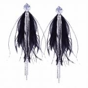 Fashion Sweet Alloy Tassel Diamond Feather Drop Earrings
