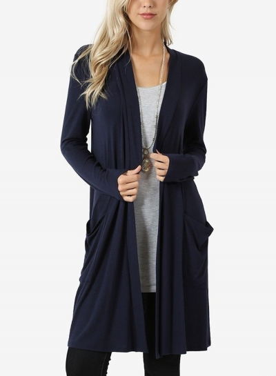 Navy Casual Long Sleeve Open Front Cardigan With Pockets STYLESIMO.com