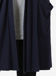 Navy Casual Long Sleeve Open Front Cardigan With Pockets