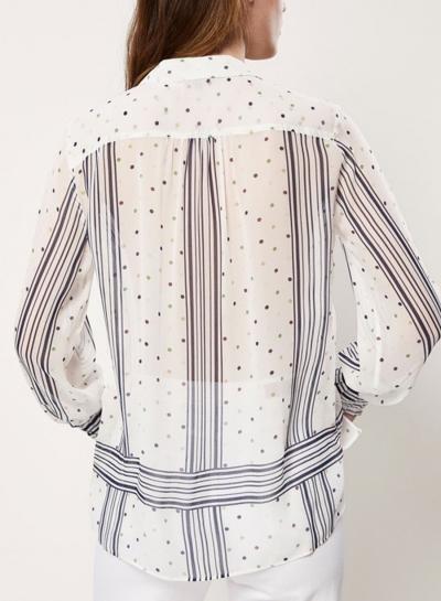 Blue Women's Casual Striped Polka Dot Long Sleeve Loose Button Down Shirt