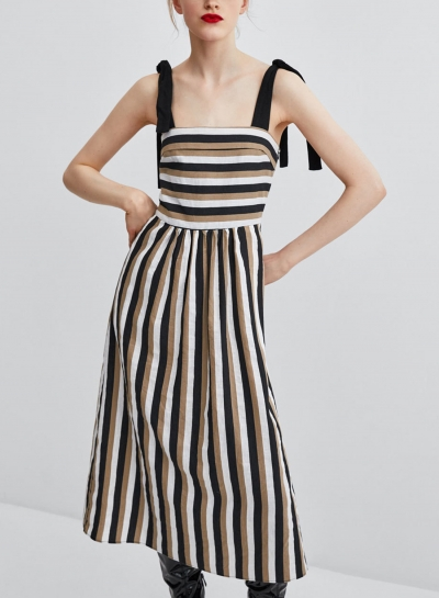 Coffee Casual Striped Strappy Bow Tie Backless High Waist A-line Dress