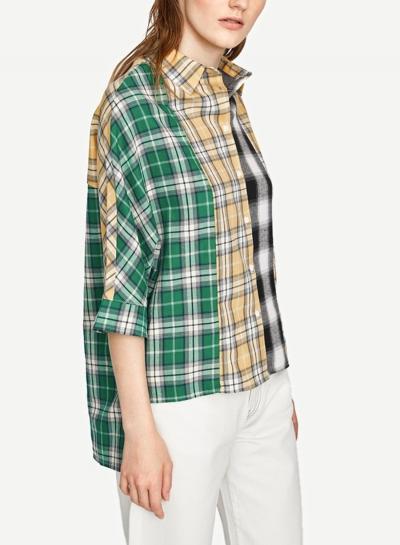 217b3206 Multi Turn-Down Collar Long Sleeve High Low Loose Plaid Button Down Shirt -  STYLESIMO.com