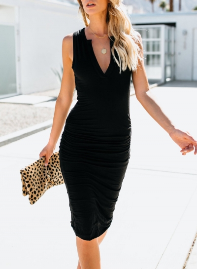 Black Sleeveless V Neck Solid Color Bodycon Maxi Dress