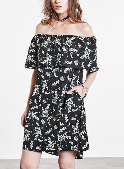 Black Chiffon Floral Print Off Shoulder Short Sleeve Loose A-line Midi Dress