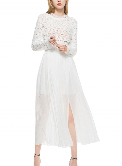 Slim High Neck Long Sleeve High Waist Slit Lace Hollow Out Pleated Dress