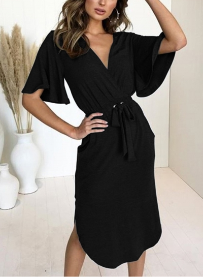 Black Short Sleeve Waist Tie Design Slim Dress With Pockets