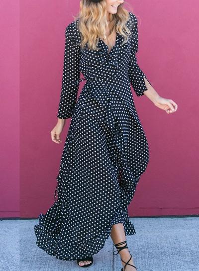 Black High Waist Polka Dot Slit Maxi Dress