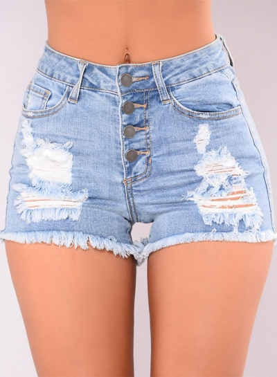 Blue Casual Destroyed Ripped Distressed Denim Mini Shorts