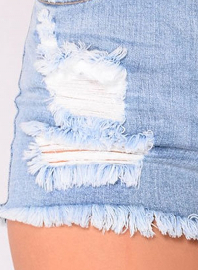Blue Casual Destroyed Ripped Distressed Denim Mini Shorts stylesimo.com