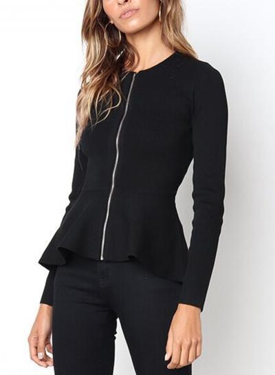 Black Casual Round Neck Long Sleeve Full Zip Slim Blouse