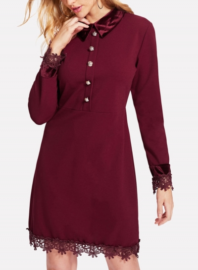 Burgundy Lapels Lace Hem Slim Button Down Dress