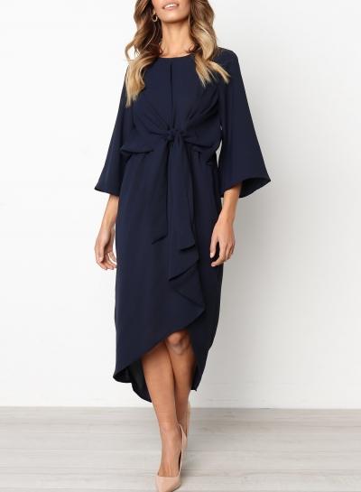 Navy Waist Bow Design Irregular High Low Dress