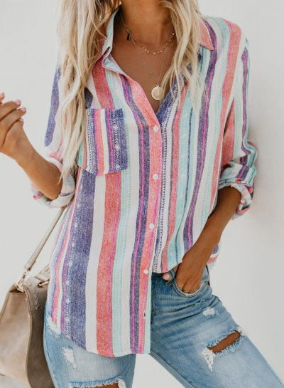 Multi Casual Striped Turn-Down Collar Long Sleeve Loose Button Down Shirt