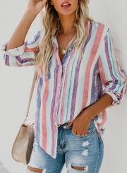 fa61064d ... Multi Casual Striped Turn-Down Collar Long Sleeve Loose Button Down  Shirt ...