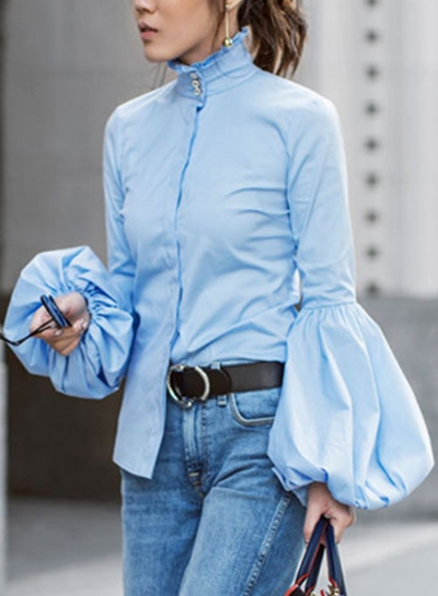 Blue Women's High Neck Long Wide Lantern Sleeve Solid Button Down Shirt