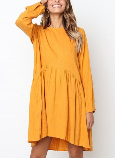 Yellow Round Neck Long Sleeve High Low Loose Pleated Mini Dress With Pockets