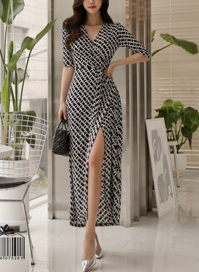 Geometric Printed High Slit Maxi Dress With Belt