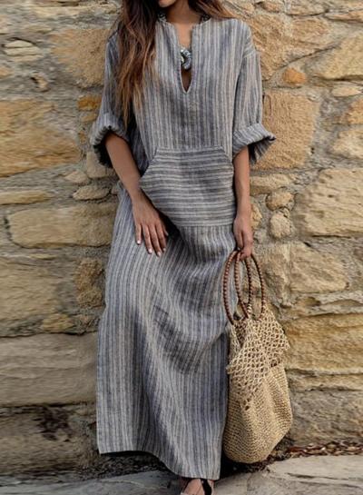 Long Sleeve V Neck Linen Cotton Loose Striped Long Maxi Dress