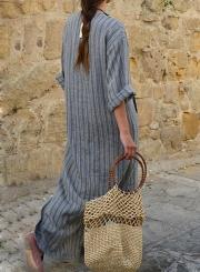 c899eb59c4 ... Long Sleeve V Neck Linen Cotton Loose Striped Long Maxi Dress ...