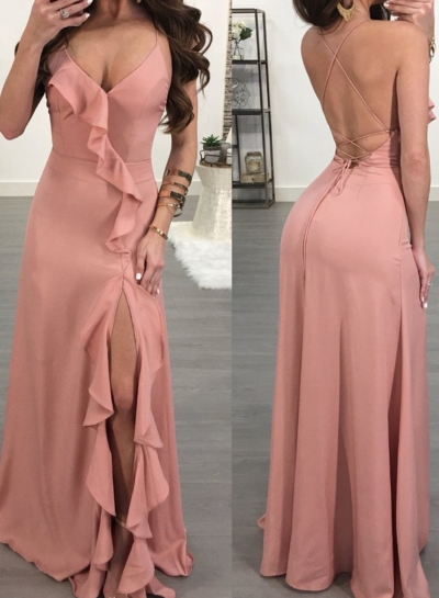 Pink Spaghetti Strap Backless High Slit Evening Dress
