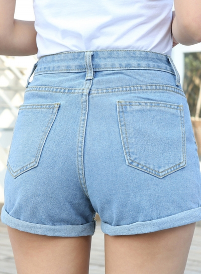 High Waist Wide Leg Rolled-Up Loose Denim Shorts With Pockets