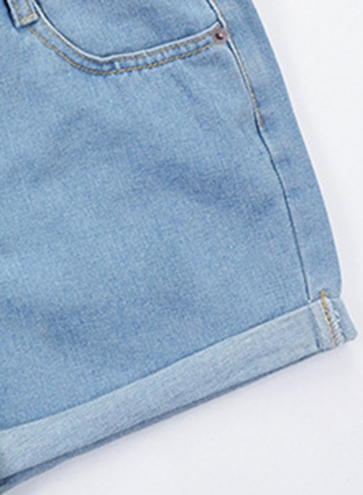 High Waist Wide Leg Rolled-Up Loose Denim Shorts With Pockets stylesimo.com