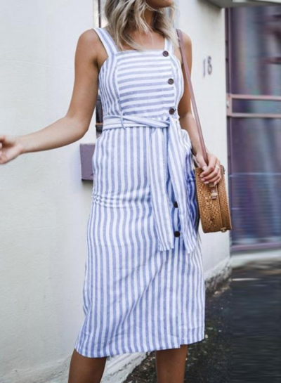 Blue&white Summer Striped Strappy Backless Waist Tie Button Down Dress With Pockets