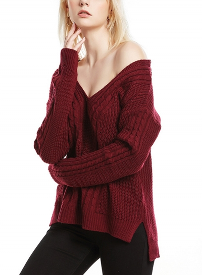 Burgundy Womne's V Neck Long Sleeve Loose Solid Color Pullover Sweater